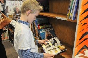 boy at bookshelf