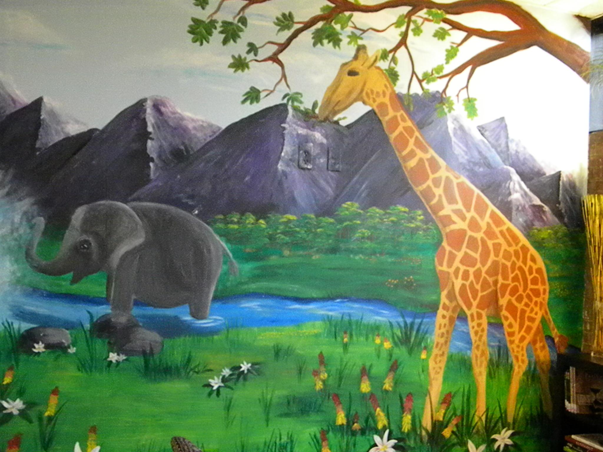 elephant and giraffe