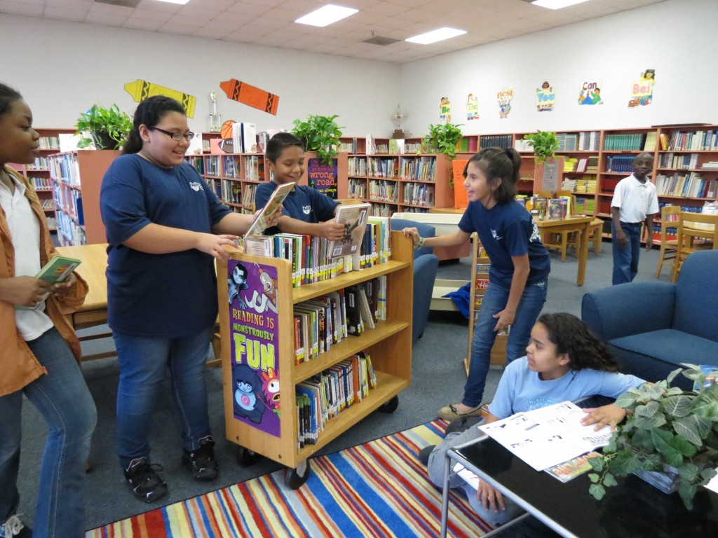 kids at book cart